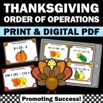 Thanksgiving Math Games Activities Order of Operations Tas