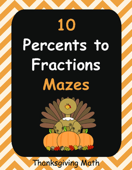 Thanksgiving Math: Percents to Fractions Maze