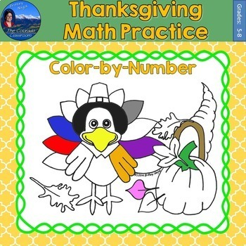 Thanksgiving Math Practice Color by Number Grades 5-8