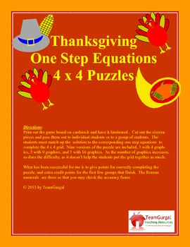 Thanksgiving Math Puzzle - One Step Equations