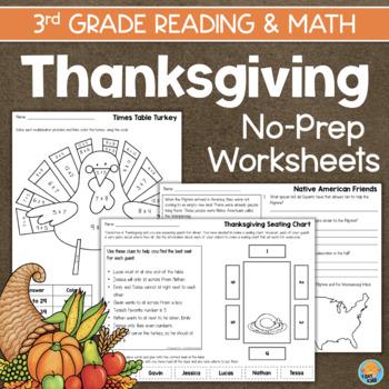 Thanksgiving Math & Reading No-Prep Printables for 3rd Grade