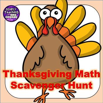 Thanksgiving Math Scavenger Hunt Game