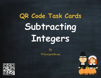 Thanksgiving Math: Subtracting Integers QR Code Task Cards