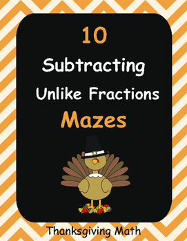 Thanksgiving Math: Subtracting Unlike Fractions Maze
