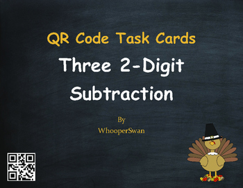 Thanksgiving Math: Three 2-Digit Subtraction QR Code Task Cards