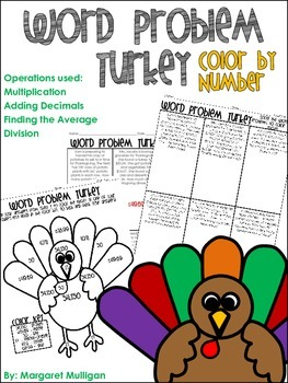 Thanksgiving Math: Turkey Word Problem color by number