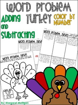 Thanksgiving Math: Word Problem color by number Adding and