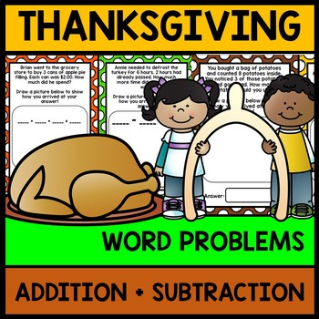 Thanksgiving Math Word Problems - Addition - Subtraction -