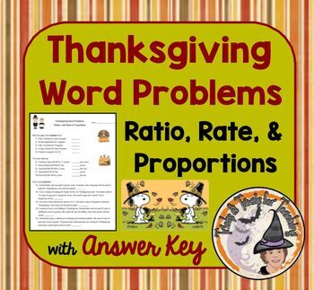 Thanksgiving Math Word Problems with Answer KEY Ratio, Rat