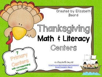 Thanksgiving Math and Literacy Centers for Pre-K, Kinderga