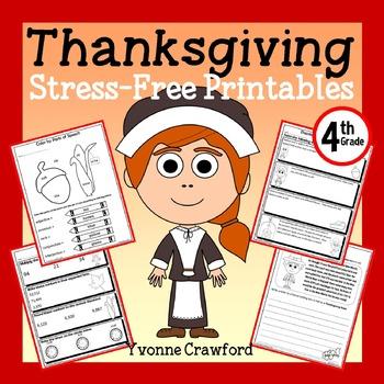 Thanksgiving NO PREP Printables - Fourth Grade Common Core