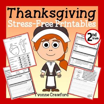 Thanksgiving NO PREP Printables - Second Grade Common Core