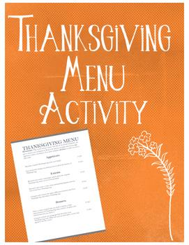 Thanksgiving Menu Activity