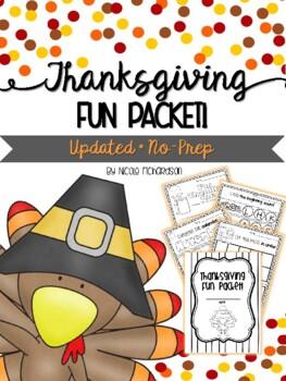Thanksgiving Mini Fun Packet! NO-PREP!