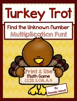 Thanksgiving Multiplication Card Game - Common Core Grade 3