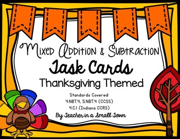 Thanksgiving Mixed Practice Task Cards 4.NBT.4