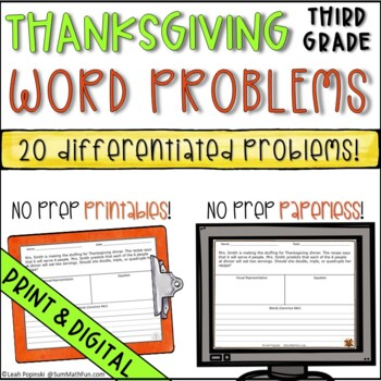 Thanksgiving Activities Word Problems Third Grade