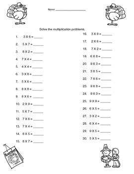 Thanksgiving Multiplication Printable