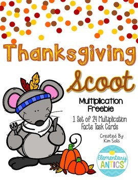 Thanksgiving Multiplication Scoot Task Cards Freebie