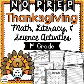 Thanksgiving Math, Literacy, Science, & Social Studies Wor