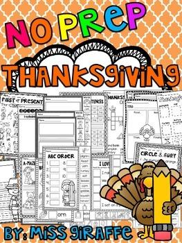 Thanksgiving Activities (No Prep November Worksheets and W