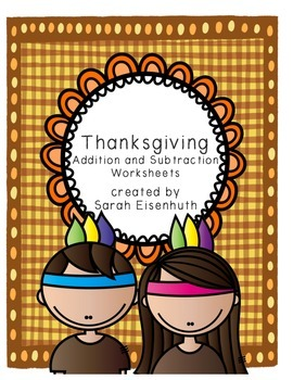 Thanksgiving Native American Kids Addition and Subtraction