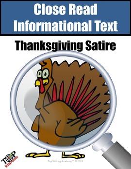Thanksgiving Activities Non-Fiction Analyzing Satire Close