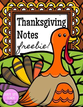 Thanksgiving Notes FREEBIE