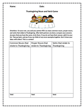 Thanksgiving Noun & Verb Game