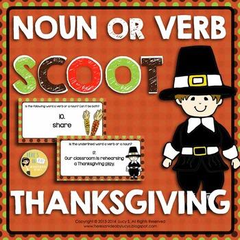 Thanksgiving - Noun or Verb SCOOT - 70 Task Cards