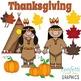 November Clip Art Set Thanksgiving Pilgrim Indian Pumpkin