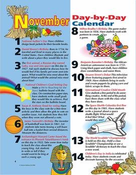 Thanksgiving November Day By Day Calendar Activities Grades 1-3