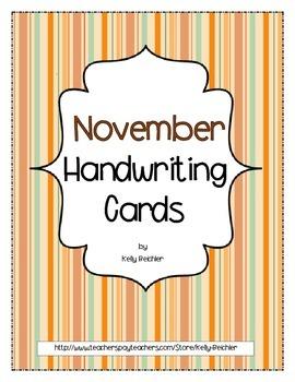 Thanksgiving: November Handwriting Cards