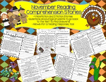 Thanksgiving/November Reading Comprehension-6 pages of rea