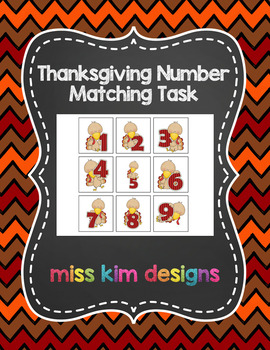 Thanksgiving Number Matching Folder Game for students with Autism