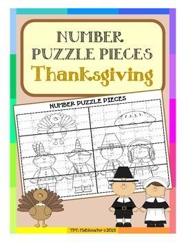 Thanksgiving - Number Puzzle Pieces EASY PREP