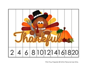 Thanksgiving Number Counting Puzzles - 5 Different Designs