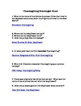 Thanksgiving Online Scavenger Hunt