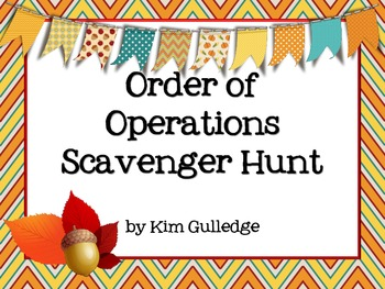 Thanksgiving Order of Operations Scavenger Hunt - Around t