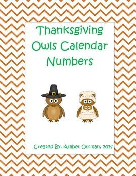 November Owls Calendar Numbers