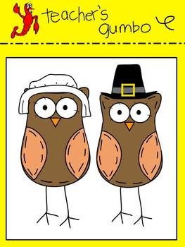 Thanksgiving Owls Clip Art