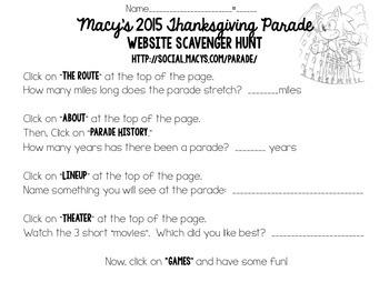 Thanksgiving Parade  - 2015 Website Scavenger Hunt and Des
