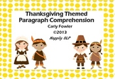 Thanksgiving Paragraph Comprehension