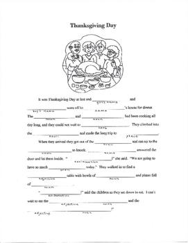 Thanksgiving Parts of Speech