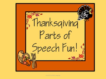 Thanksgiving Parts of Speech Fun with Sorting and Sentence