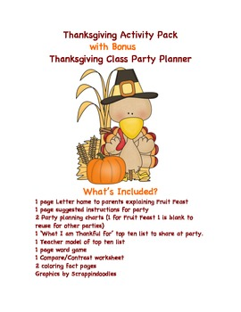 Thanksgiving Party Pack and Activity Bundle