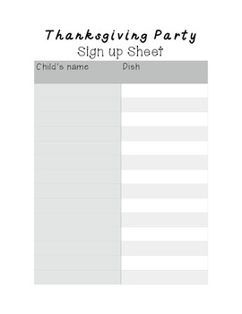 Thanksgiving Party Sign Up Sheet!