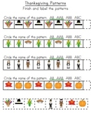 Thanksgiving Patterns (Pocket Chart Set included)