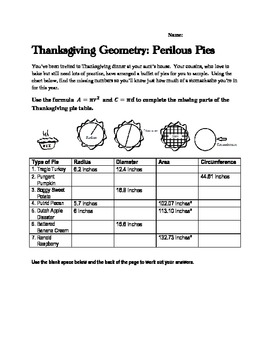 Middle School Math Thanksgiving Geometry With Circles Activity