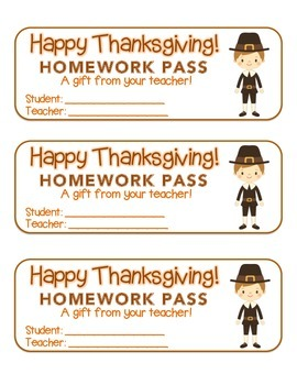 """Thanksgiving"" Pilgrim Boy - Homework Pass – Holiday FUN!"